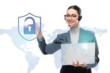 call center operator holding laptop while pointing with finger at safety lock icon near world map isolated on white 스톡 콘텐츠