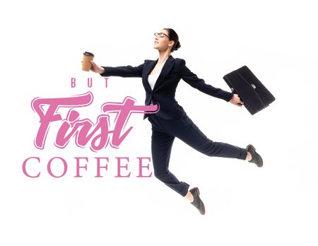 attractive businesswoman holding briefcase and coffee to go while levitating near but first coffee lettering isolated on white Stock fotó