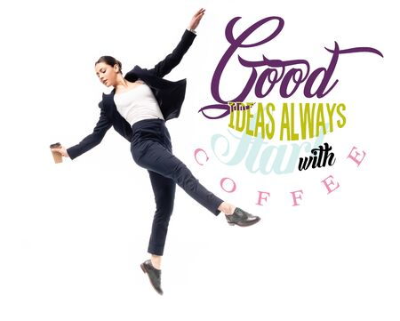 beautiful businesswoman holding coffee to go while dancing near good ideas always starts with coffee lettering isolated on white