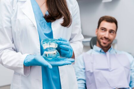 cropped view of dentist holding teeth model and standing near happy man 写真素材