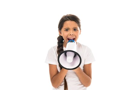 angry kid holding megaphone while screaming isolated on white