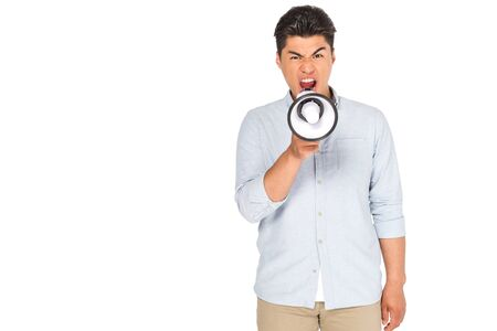 angry asian man screaming into megaphone while looking at camera isolated on white