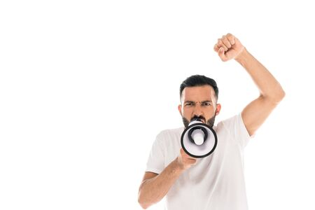 bearded man with clenched fist screaming in megaphone and gesturing isolated on white Imagens - 131992779