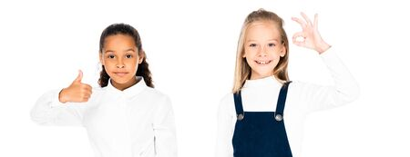 panoramic shot of two multicultural schoolgirls showing thumb up and ok gesture   isolated on white