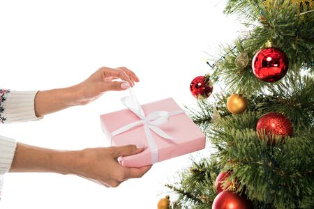 cropped view of woman holding pink present near christmas tree isolated on white