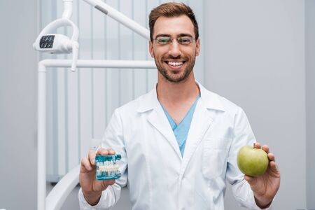 cheerful dentist in glasses holding tooth model and green apple in clinic 写真素材