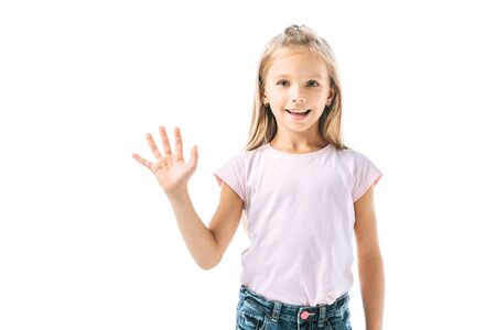 happy child waving hand and smiling isolated on white 版權商用圖片