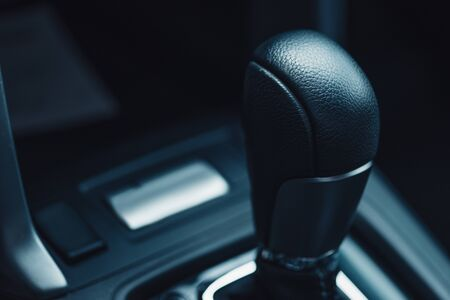 close up view of gear shifter in modern car 스톡 콘텐츠