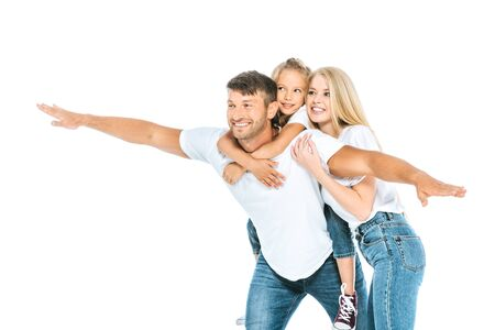 happy father with outstretched hands near daughter and wife isolated on white Stok Fotoğraf