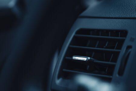 ventilation grille on dashboard in modern car 免版税图像