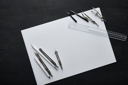 top view of paper with copy space, pencil, pen, ruler and compasses Stok Fotoğraf