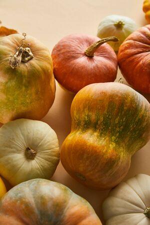 ripe whole pumpkins on beige background