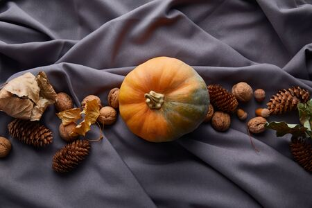 top view of ripe whole colorful pumpkin with autumnal decor on grey cloth