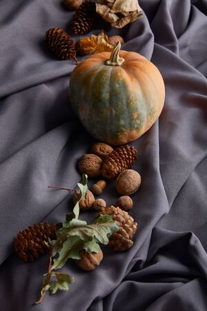ripe whole pumpkin with autumnal decor on grey cloth