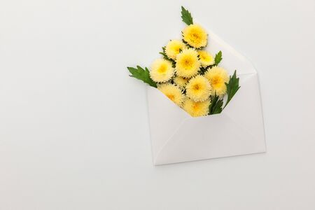 top view of yellow asters in envelope on white background with copy space