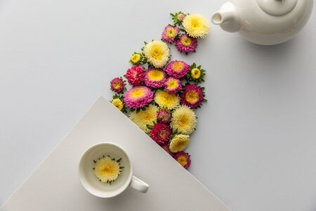 top view of asters near teapot and cup on white background