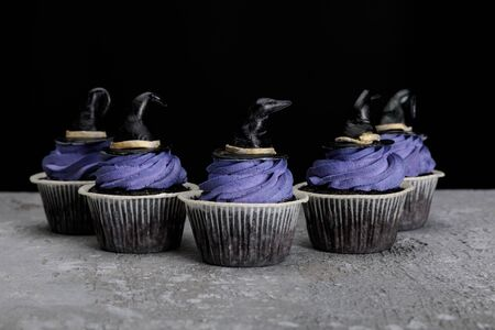 Halloween cupcakes with blue cream and decorative witch hats on concrete grey surface isolated on black