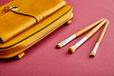 close up of cosmetic brushes near yellow bag on crimson