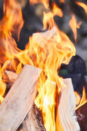 selective focus of firewood with fire flames in grill Stock fotó - 133650520
