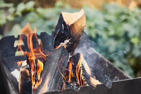 selective focus of firewood with fire flames in grill