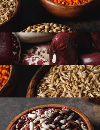 collage of different uncooked organic and beans groats Zdjęcie Seryjne - 133840374