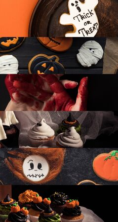 collage of traditional Halloween sweet treat and bloody hands