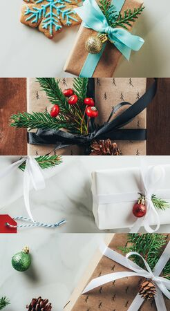 collage of Christmas decorated gifts on wooden and marble background