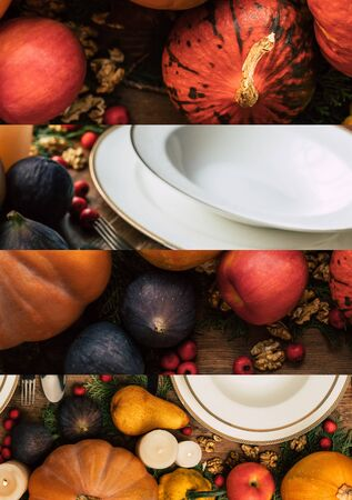 collage of white ceramic plates among pumpkins, apples, nuts, figs, Thanksgiving festive table setting Reklamní fotografie