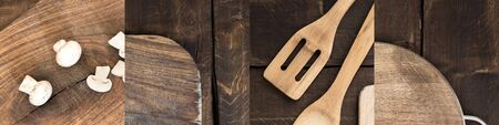 collage of cut mushrooms, cutting board and spatulas on wooden brown table Reklamní fotografie