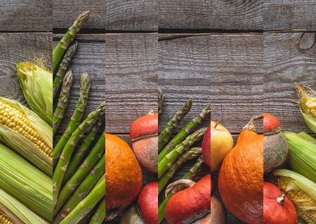 collage of ripe natural raw asparagus, pumpkin and corn on wooden table Reklamní fotografie