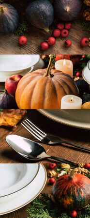 collage of white ceramic plates, cutlery, figs and pumpkins on wooden table, Thanksgiving festive table setting