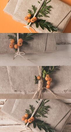 collage of rustic brown cloth with sea buckthorn, Christmas decor