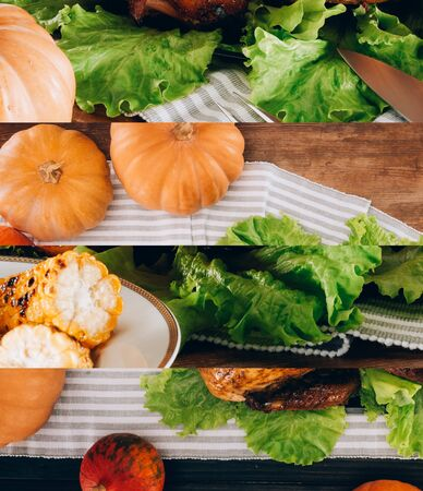 collage of ripe pumpkins, green lettuce, grilled corn, baked turkey on wooden table and striped tablecloth, Thanksgiving festive table setting Reklamní fotografie