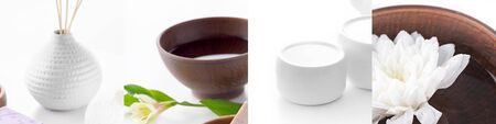 collage of spa supplies and bowl with lotus on water on white background