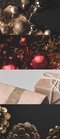 collage of shiny Christmas baubles, cones and wrapped gifts Stock Photo