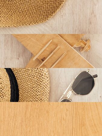 collage of plane model, straw hat and sunglasses on wooden table, travel concept