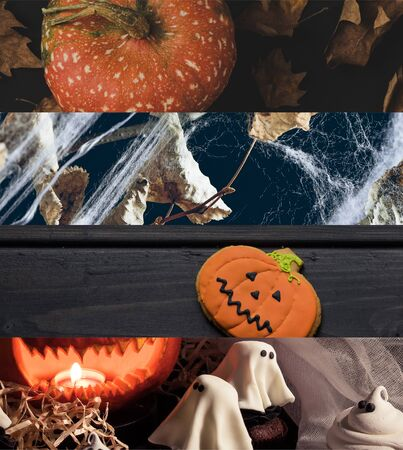 collage of traditional Halloween pumpkin, spiderweb, dry leaves and ghosts