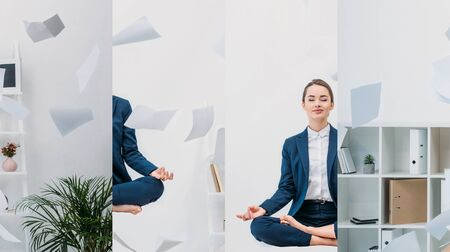 collage of young businesswoman with closed eyes meditating in air with paper at workplace