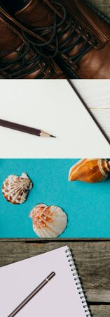 collage of leather boots, blank notebook with pencil on wooden background and seashells on blue background, travel concept