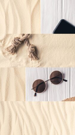 collage of sand, rope, sunglasses and smartphone with blank screen on white wooden background, travel concept