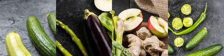 collage of green fresh vegetables on dark background
