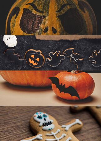 collage of traditional Halloween pumpkins and cookies