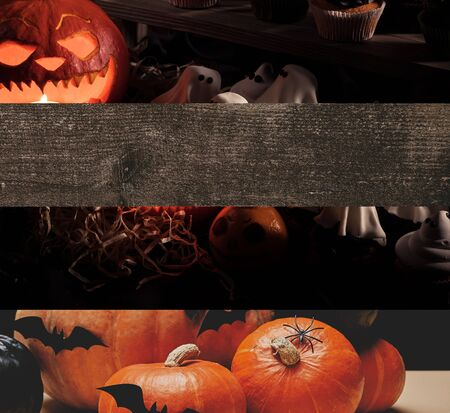 collage of traditional Halloween pumpkins, bats and ghosts