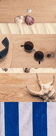 collage of  striped towel, sunglasses, straw hat, seashells on wooden and sand background, travel concept Reklamní fotografie
