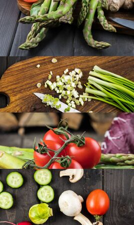 collage of tomato, asparagus, green onion, mushrooms and cucumber on wooden dark table Reklamní fotografie