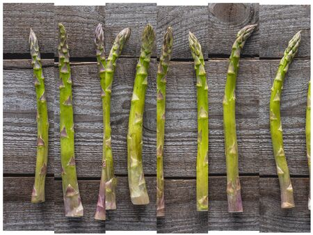 collage of ripe green natural asparagus on wooden table Reklamní fotografie