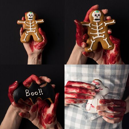 collage of people with bloody hands holding traditional Halloween cookies