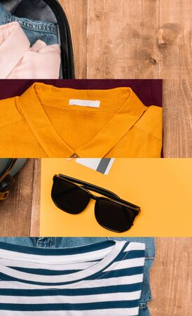 collage of suitcase with bright clothing and sunglasses on wooden surface, travel concept