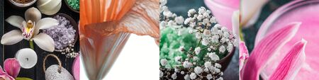 collage of lily flowers, bath salt and candles