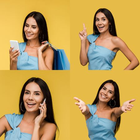 collage of brunette woman using smartphone, showing different emotions and idea gesture isolated on yellow Reklamní fotografie